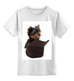 """Детская футболка классическая унисекс """"Йорик в кепке"""" - щенок, собачка, йорик, йоркширтерьер, питомец, йорик в кепке"""