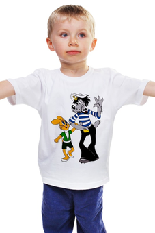 """Детская футболка классическая унисекс """"любимый мульт. ну,погоди.заяц и волк."""" - заяц, мульт, волк, ну погоди"""