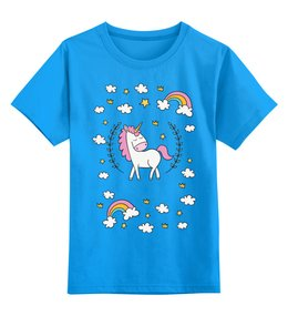 """Детская футболка классическая унисекс """"Единорог"""" - радуга, волшебство, магия"""