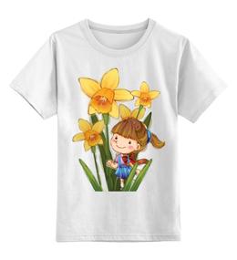 """Детская футболка классическая унисекс """"Девочка с нарциссами"""" - цветы, девочка, нарциссы"""