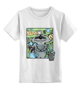 """Детская футболка классическая унисекс """"Енот-полоскун"""" - рисунок, в подарок, детям, улыбка, енот"""