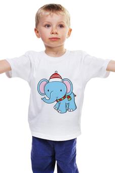 """Детская футболка классическая унисекс """"слон Новый год"""" - новый год, слоник, нг"""