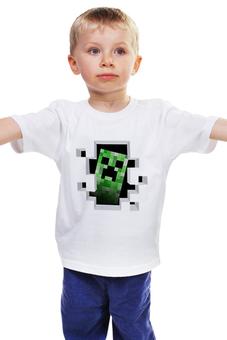 "Детская футболка классическая унисекс ""Creeper"" - minecraft, майнкрафт, creeper, крипер, кубы"