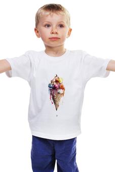"""Детская футболка """"Мороженое"""" - цвета, рисунок, мороженое, рожок"""