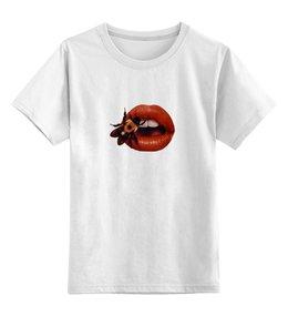 """Детская футболка классическая унисекс """"Beyond beauty """" - губы, поцелуй, lips, beyond beauty"""