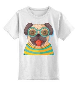 """Детская футболка классическая унисекс """"Мопс в очках"""" - животные, собака, мопс"""