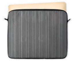 """Чехол для ноутбука 12"""" """"Вертикальная полоска"""" - полоска, белый, чёрный, иллюзия"""