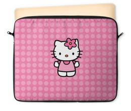 "Чехол для ноутбука 12"" ""Kitty в горошек"" - hello kitty, розовый, кружочки, горохи, горошки"
