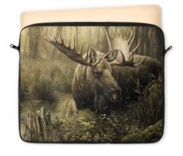 """Чехол для ноутбука 12"""" """"Лось в лесу"""" - животные, рисунок, лес, лось, чащоба"""