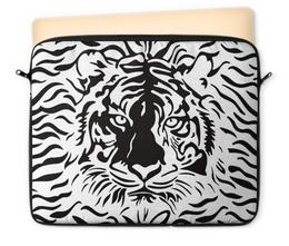"Чехол для ноутбука 12"" ""Взгляд Тигра"" - рисунок, взгляд, графика, тигр, чёрное и белое"