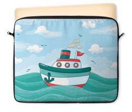 """Чехол для ноутбука 12"""" """"Морской"""" - море, детский, волны, корабль, морской"""