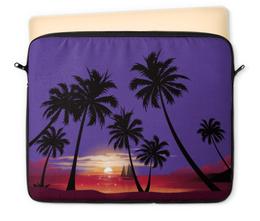 """Чехол для ноутбука 12"""" """"Острова в океане"""" - море, закат, яхта, острова, пальмы"""