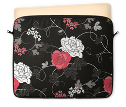 """Чехол для ноутбука 12"""" """"Красная и белая розы"""" - цветы, белое, красное, розы"""