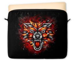 "Чехол для ноутбука 12"" ""Wolf & Fire"" - огонь, волк, fire, дым, wolf"