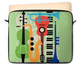 """Чехол для ноутбука 12"""" """"Музыкальные инструменты"""" - музыка, гитара, скрипка, инструменты, саксафон"""