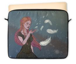 """Чехол для ноутбука 12"""" """"Перышко"""" - перышко, девушка, рыжая, снег, ветер"""