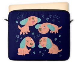 "Чехол для ноутбука 12"" ""Собачки"" - новый год, сердечки, 2018, год собаки, косточки"