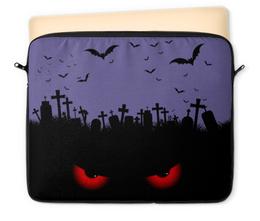 """Чехол для ноутбука 12"""" """"Взгляд оттуда"""" - рисунок, взгляд, хэллоуин, летучие мыши, кладбище"""