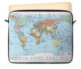 """Чехол для ноутбука 12"""" """"Карта мира"""" - мир, страны, карта, политика, география"""