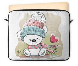 """Чехол для ноутбука 12"""" """"Медвежонок"""" - юмор, рисунок, зима, медвежонок, мультяшка"""