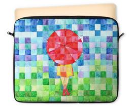 """Чехол для ноутбука 12"""" """"Мозаика"""" - девушка, осень, ярко, мозаика, зонт"""