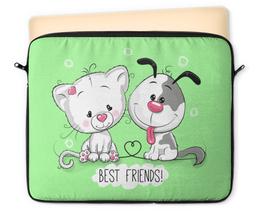 """Чехол для ноутбука 12"""" """"Друзья"""" - мультяшки, друзья, рисунок, щенок, котёнок"""