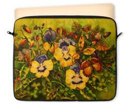 """Чехол для ноутбука 12"""" """"Фиалки"""" - цветы, природа, бабочка, анютины глазки, земляничка"""