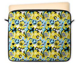 """Чехол для ноутбука 12"""" """"Поп арт дизайн. Глаза сердце звезды паттерн"""" - яркий, классный, смешной, прикольный"""