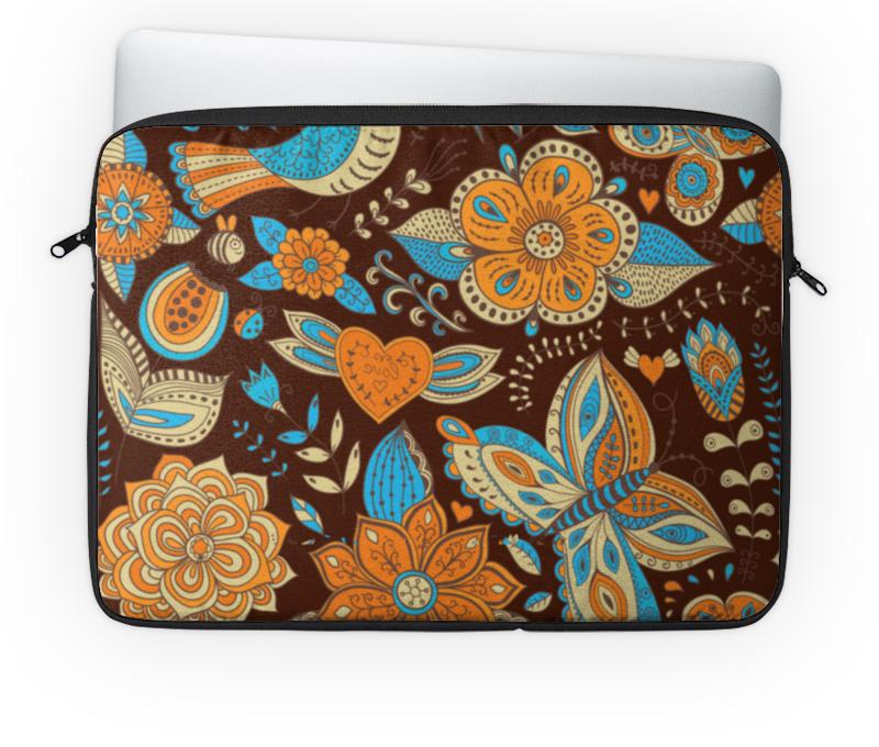 Чехол для ноутбука 14'' Printio Цветы и бабочка