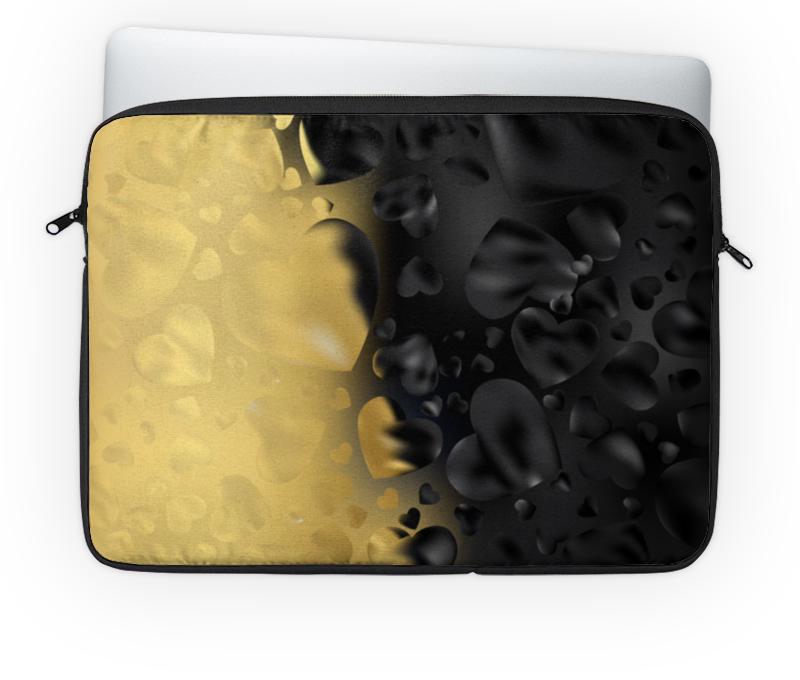 Чехол для ноутбука 14'' Printio Сердца черно-золотые