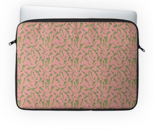 """Чехол для ноутбука 14'' """"Веган """" - розовый, классный, овощи, аспарагус, веганский"""