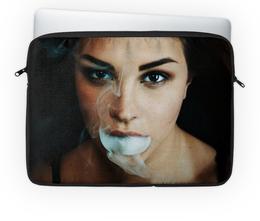 """Чехол для ноутбука 14'' """"Девушка с дымом"""" - арт, девушка, фото, искусство, дым"""