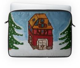 """Чехол для ноутбука 14'' """"Домик в лесу"""" - дом, снег, лес"""