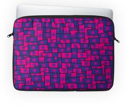 """Чехол для ноутбука 14'' """"Прямоугольники"""" - фигура, черный, красный, синий, прямоугольник"""