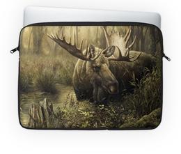 """Чехол для ноутбука 14'' """"Лось в лесу"""" - животные, рисунок, лес, лось, чащоба"""