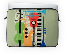 """Чехол для ноутбука 14'' """"Музыкальные инструменты"""" - музыка, гитара, скрипка, инструменты, саксафон"""