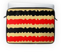 """Чехол для ноутбука 14'' """"Полоски с рванными краями"""" - черный, красный, бежевый, полоски, рванный"""