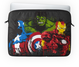 "Чехол для ноутбука 14'' ""Супергерои"" - супергерои, марвел, железный человек, капитан америка, халк"