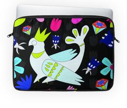 """Чехол для ноутбука 14"""" """"курица-королева"""" - птицы, цветочный паттерн, алмазы, скандинавский, королева"""