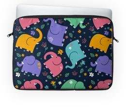 """Чехол для ноутбука 14'' """"Слоники"""" - узор, животные, стиль, слоны, детский рисунок"""