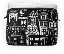 """Чехол для ноутбука 14'' """"Город вместе с тобой"""" - ночь, дом, луна, чб, уют"""