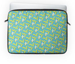 """Чехол для ноутбука 14'' """"Банана!"""" - узор, голубой, желтый, паттерн, банан"""