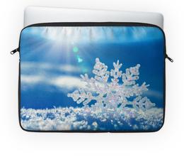 """Чехол для ноутбука 14'' """"Снежинка"""" - зима, солнце, снег, снежинка"""