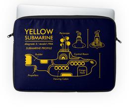 "Чехол для ноутбука 14'' ""Yellow Submarine"" - the beatles, yellow submarine, чертёж, жёлтая подводная лодка, жёлтая субмаритна"