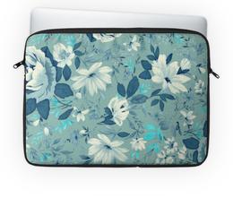 """Чехол для ноутбука 14"""" """"Цветы. Акварель"""" - цветы, акварель, роза, голбой, белый"""