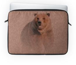 """Чехол для ноутбука 14'' """"Медведь"""" - медведь, рисунок, животное, коричневый, бурый"""