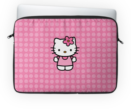 "Чехол для ноутбука 14'' ""Kitty в горошек"" - hello kitty, розовый, кружочки, горохи, горошки"