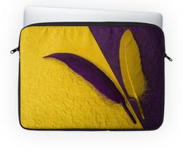 """Чехол для ноутбука 14'' """"Два пера"""" - фиолетовый, перо, желый"""