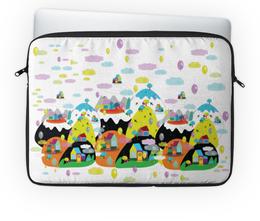"""Чехол для ноутбука 14'' """"Облачный город"""" - город, облака, горы, воздушные шары, нежный дизайн"""