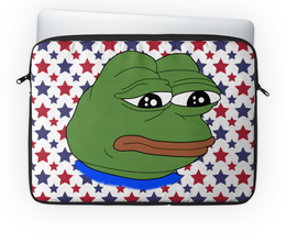 "Чехол для ноутбука 14'' ""Pepe Frog"" - мем, грустная лягушка, sad frog, pepe frog, pepe the frog"